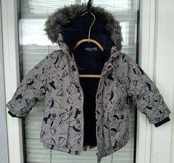 Новая теплая куртка на меху для мальчика 9-12 мес.