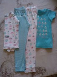 Детская пижама фирмы Carters США в комплекте 4 единицы на девочку 5 - 6 лет