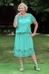 р. 54-58 Новое платье Индонезия РИШЕЛЬЕ кружево изумрудного цвета и блузки