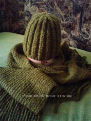 комплект шапка  шарф полушерсть теплые
