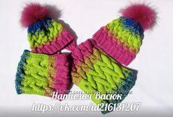 Набор шапка и шарф в стиле градиент.