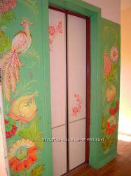 Роспись стен и мебели петриковской росписью под заказ