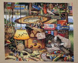 Кот-рыболов картина крестиком