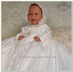 Шикарный авторская крестильная рубашка платье Венеция