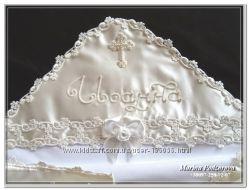 Шикарная крестильная крыжма, ручная вышивка бисером