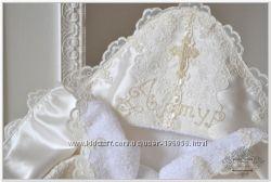 Именная крестильная крыжма Венеция, ручная вышивка бисером