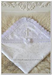 Именная крестильная крыжма, идеальное качество, ручная вышивка бисером