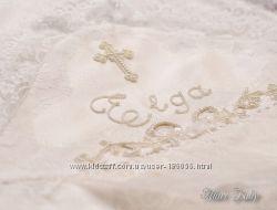Роскошная  именная крестильная крыжма шантильи, вышивка бисером