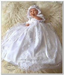 Элегантный крестильный комплект коллекция Анастасия белая