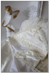 Шикарные именные крыжмы для крещения, ручная вышивка бисером. Под заказ