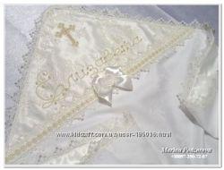 Эксклюзивная именная крестильная крыжма, вышивка бисером. Лучшее качество