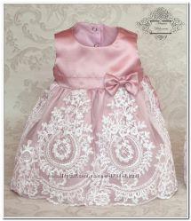 Шикарный комплект на выписку из роддома. Набор платье и повязка Версаль