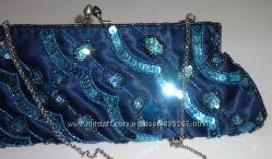 клатч Atmosphere сине-бирюзовый расшитый бисером