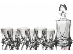 Набор стаканов для виски 340 мл 6 шт и карафа 480 мл. Bohemia Quadro.