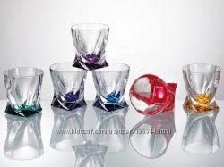 Стаканы для виски, воды Bohemia Quadro 340 мл - 6 шт. , разноцветное дно