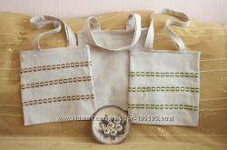 Льняная сумка для покупок, ручная работа