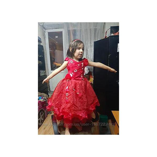 Красивое яркое красное платье на 3-7 лет, утренник, выпуск, сукня. рост 110-