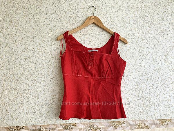 TU красный льняной топ, майка, футболка