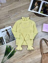 Divided by H&M стильный укорочённый лимонный джемпер с красивой горловиной