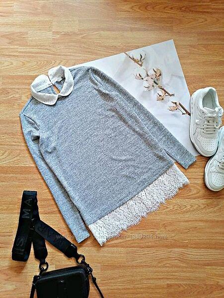 Женский нарядный строгий брендовый серый джемпер кофта с кружевом tu - 44