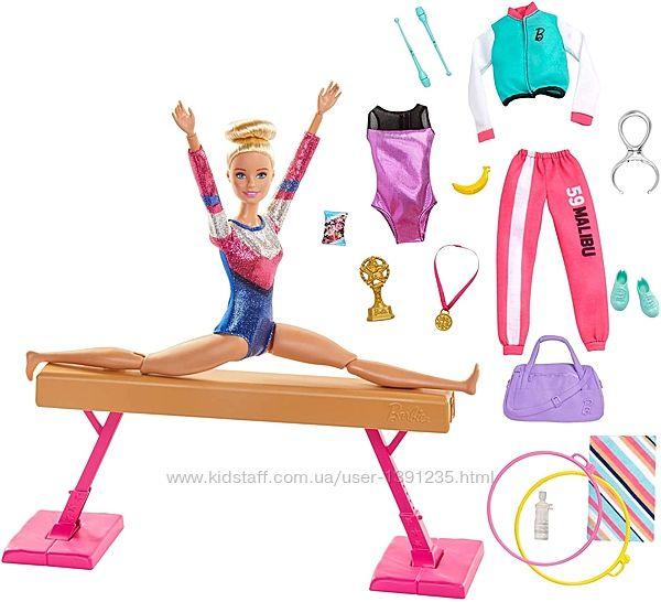Шарнирная кукла Барби гимнастка на бревне Barbie Gymnastics Playset. Уценка