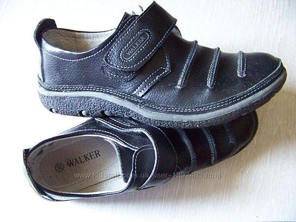 Туфли на липучке черные кожаные классические walker 22.5 см стелька
