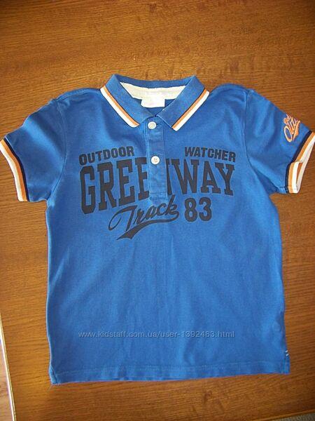 Котоновая синяя футболка-поло 6-7 лет blukids