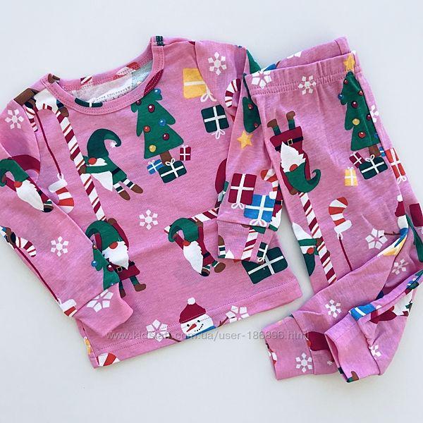 Хлопковые новогодние пижамки для девочек