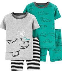 Хлопковые комплектики футболка и шорты фирмы Carters для мальчиков