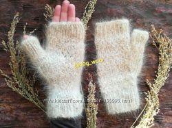 Теплющі мітенки з собачої шерсті митенки шерстяные вязаные теплые
