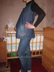 Продам джинсовый костюм  для беременной в размере 38