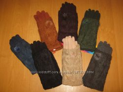 Теплые красивые перчатки плюс митенки