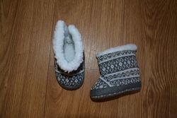 Тканевые сапожки - пинетки с мехом