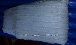тюль нежно голубая с вертикальной полоской готовая