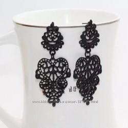 Красивые серьги из металла черная эмаль