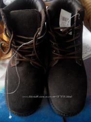 Тёплые ботинки натуральный замш 37 чёрные и коричневые