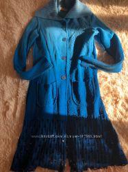 Яркое пальто  кардиган из валяной шерсти, Sweater House, Испания, р-р 2.