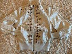 Молочная нарядная велюровая  куртка, р-р S&92M