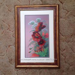 Картина Маки  вышита бисером