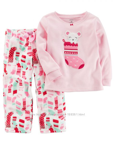 Флисовая пижама для девочек Carters 4Т 5Т костюм комплект