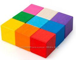 Деревянная игрушка Кубики цветные 9 шт в коробке, Тато