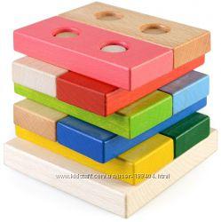 Деревянная пирамидка Цветные плашки в коробке, ТАТО