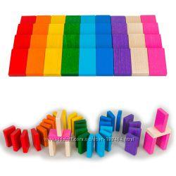 Деревянная игрушка плашки Домино Радуга, в коробке Тато