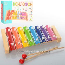 Деревянная игрушка ксилофон  металлофон  на 8 тонов MD 0713