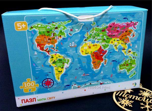 Пазлы 100 элементов Карта мира мапа світу Додо Dodo