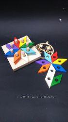 Деревянная игрушка пирамидка - мозаика Цветик - семицветик в коробке, Тато