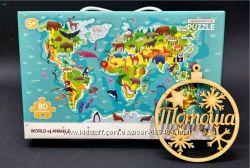 Пазлы Додо Карта Мир животных 80 деталей