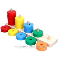 Деревянная игрушка пирамидка Считалочка KomarovToys