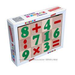 Деревянные кубики Цифры и знаки Komarovtoys