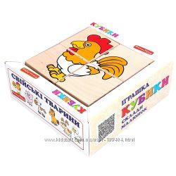 Деревянные кубики сложи рисунок домашние животные Komarovtoys